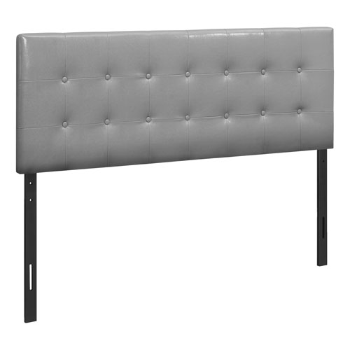 Gray and Black Leather-Look Queen Headboard
