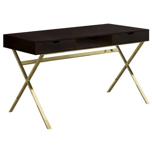 Gold Rectangular Computer Desk