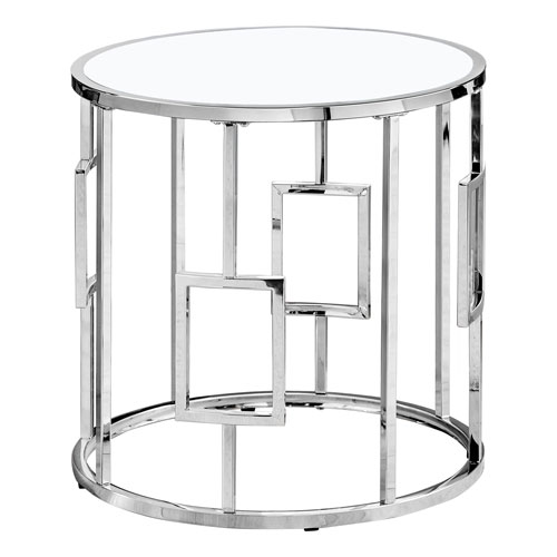 Chrome Round End Table with Tempered Glass