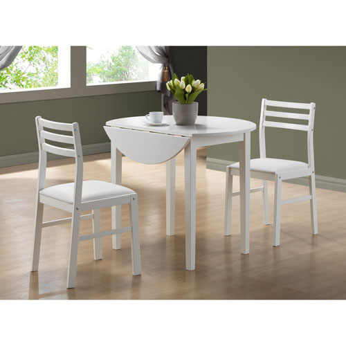 Dining Set - 3 Piece Set / White with a 36Dia Drop Leaf