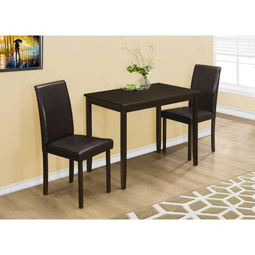Dining Set - 3 Piece Set / Cappuccino / Brown Parson Chairs