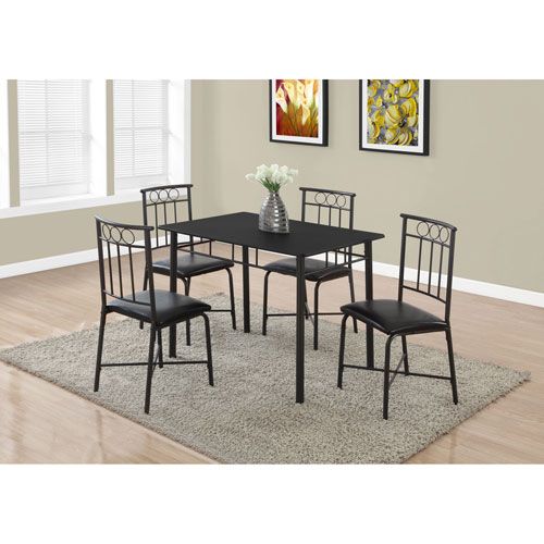Hawthorne Ave Dining Set - 5 Piece Set / Black Metal and Top