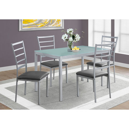 Hawthorne Ave Dining Set - 5 Piece Set / Silver / Frosted Tempered Glass