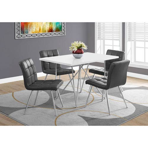 078512c7fc9 Dining Table - White   Chrome Metal