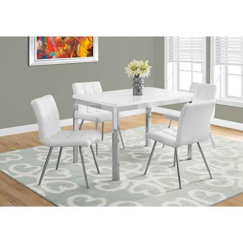 Hawthorne Ave Dining Table - White / Chrome Metal