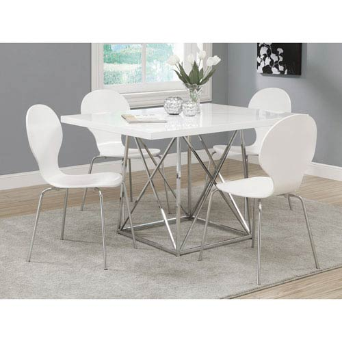 Dining Chair - 4 Piece / 34H / White Bentwood with Chrome