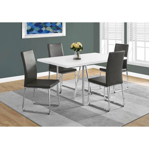 Hawthorne Ave Dining Table White Chrome Metal