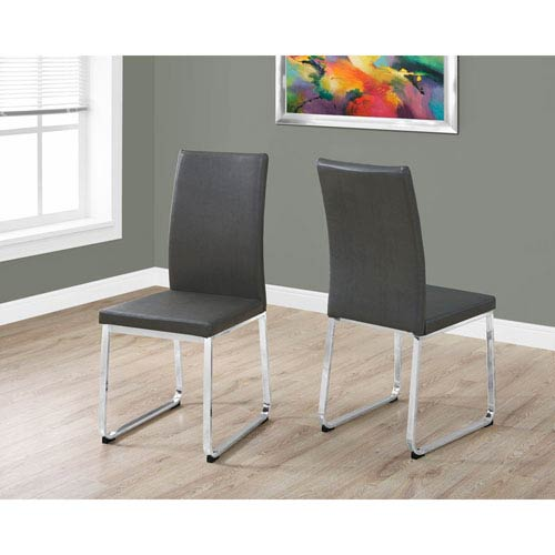 Hawthorne Ave Dining Chair - 2 Piece / 38H / Grey Leather-Look / Chrome