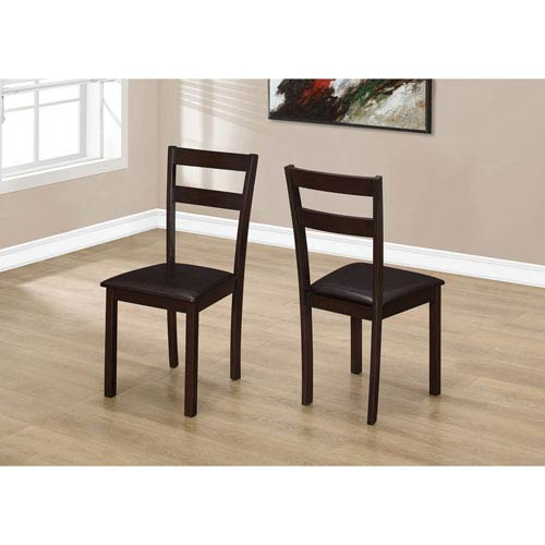 Dining Chair - 2 Piece / 35H Cappuccino / Dark Brown Seat