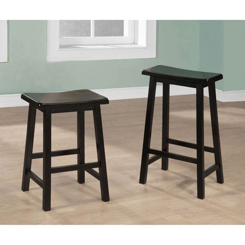 Dixie Seating Company Black Ladder Back Barstool 24 Inch