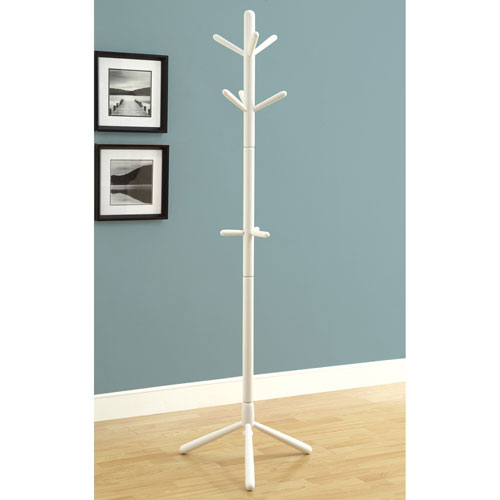 Hawthorne Ave Coat Rack - 69H / White Wood Contemporary Style