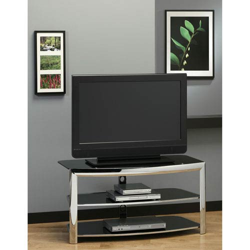 Hawthorne Ave Tv Stand Chrome Metal Black Tempered Glass I 2038