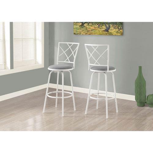 Barstool - 2 Piece / Swivel / White / Grey Fabric Seat