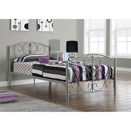 Silver Metal Bed Frame