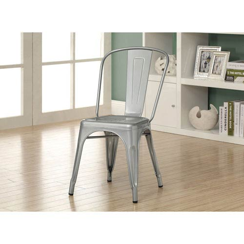 Dining Chair - 2 Piece / 33H / Silver Galvanized Metal