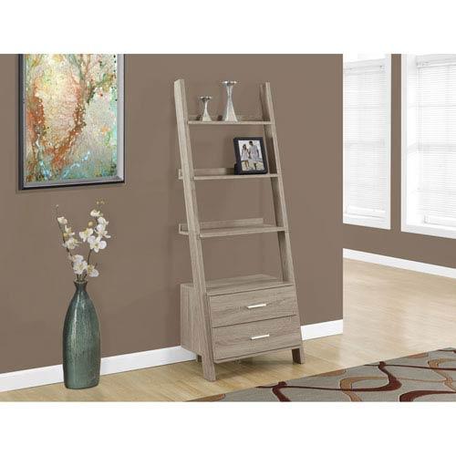 Bookcase - 69H / Dark Taupe Ladder w/ 2 Storage Drawers