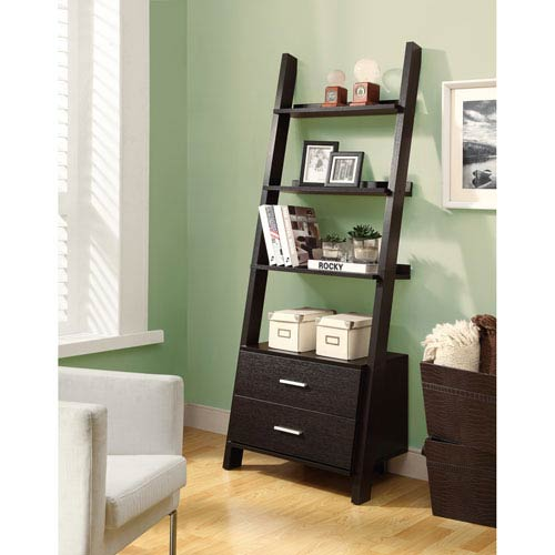 Bookcase - 69H / Cappuccino Ladder w/ 2 Storage Drawers