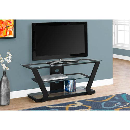 Hawthorne Ave Tv Stand Black Metal With Tempered Glass I 2588 Bellacor