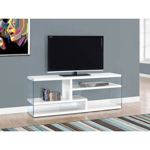 Hawthorne Ave Tv Stand 60l Glossy White With Tempered Gl