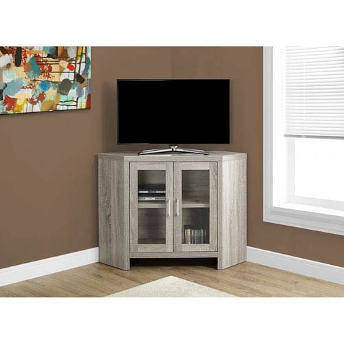 Hawthorne Ave TV Stand - 42L / Dark Taupe Corner with Glass Doors