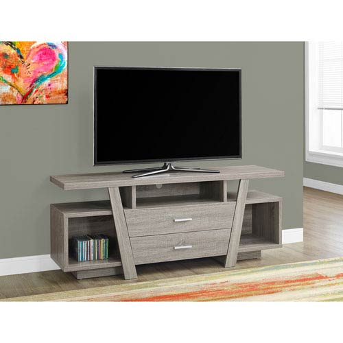Hawthorne Ave TV Stand - 60L / Dark Taupe with 2 Storage Drawers