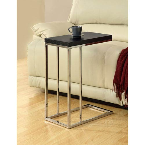 Hawthorne Ave Accent Table - Cappuccino with Chrome Metal