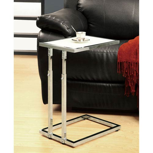 Hawthorne Ave Accent Table - Chrome Metal Adjustable Height / Tempered