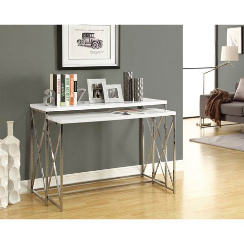 Hawthorne Ave Console Table   2 Piece / Glossy White With Chrome Metal