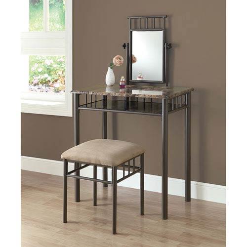 Vanity Set - 2 Piece Set / Cappuccino Marble / Bronze Metal