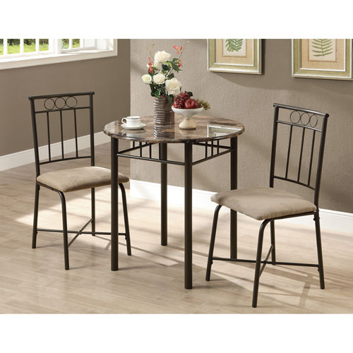 Dining Set - 3 Piece Set / Cappuccino Marble / Bronze Metal