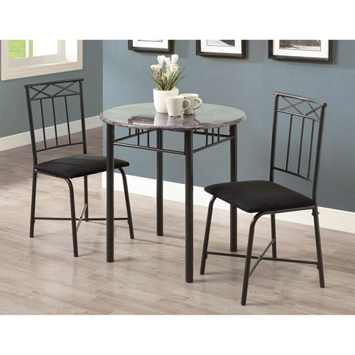 Dining Set - 3 Piece Set / Grey Marble / Charcoal Metal