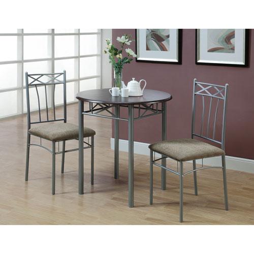 Dining Set - 3 Piece Set / Cappuccino / Silver Metal