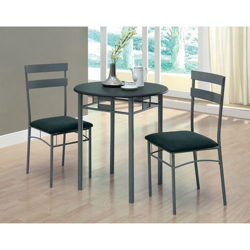 Dining Set - 3 Piece Set / Black / Silver Metal