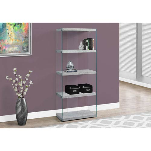 Hawthorne Ave Bookcase - 60H / Grey Cement with Tempered Glass
