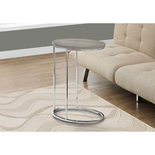 Hawthorne Ave Accent Table - Oval / Dark Taupe with Chrome Metal