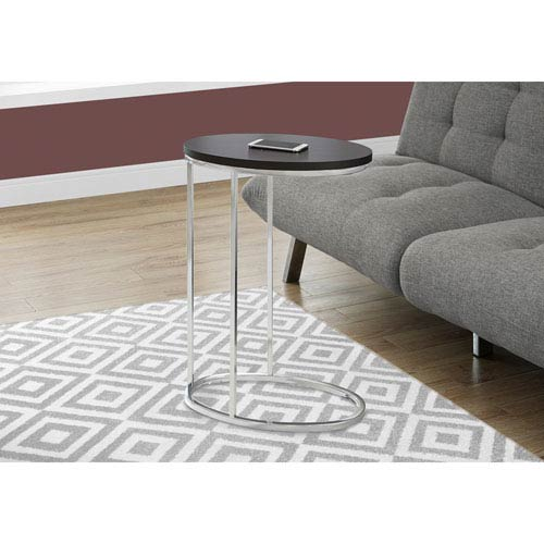 Hawthorne Ave Accent Table - Oval / Cappuccino with Chrome Metal