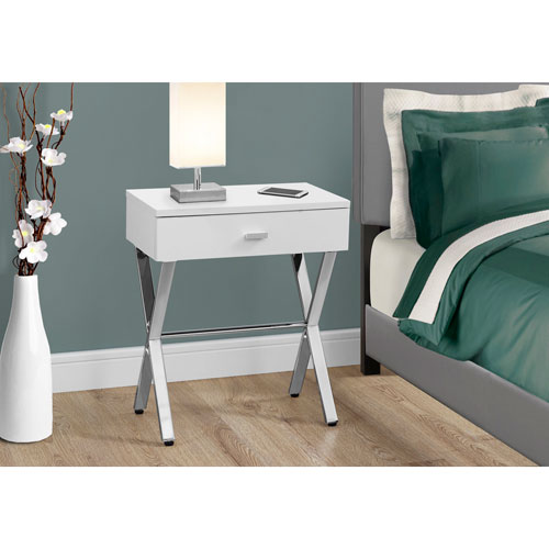 Hawthorne Ave Accent Table - Glossy White / Chrome Metal Night Stand