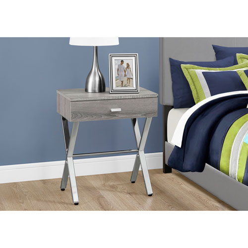 Edgy furniture Unique Hawthorne Ave Accent Table Dark Taupe Chrome Metal Night Stand Bellacor Bedroom Edgy Furniture Bellacor
