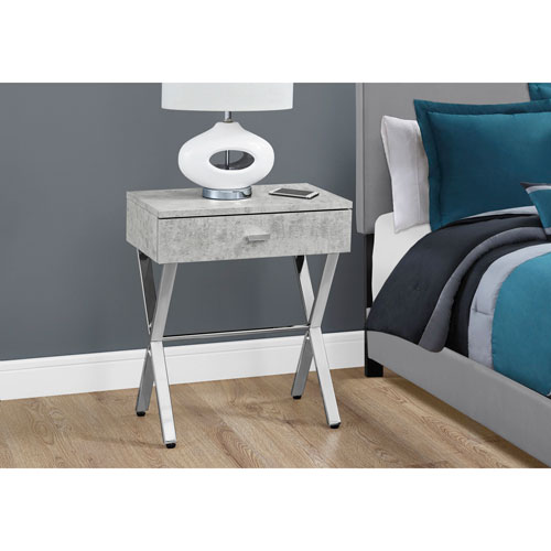 Accent Table - Grey Cement / Chrome Metal Night Stand