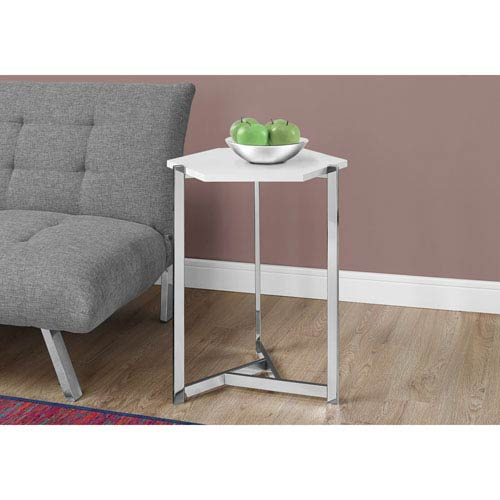 Hawthorne Ave Accent Table - Hexagon / Glossy White / Chrome Metal