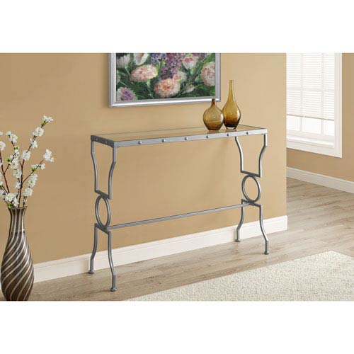 Console Table - Silver Metal with Tempered Glass