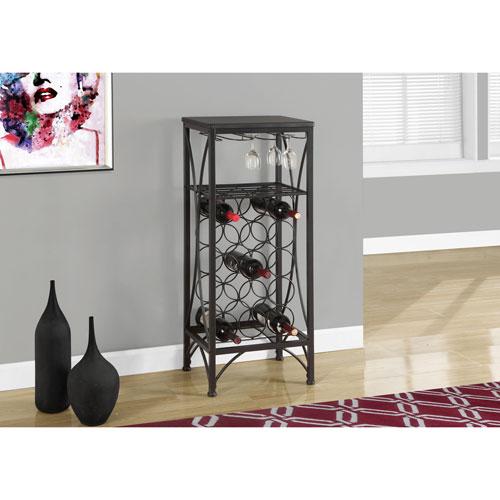 Home Bar - 40H / Black Metal Wine Bottle and Glass Rack