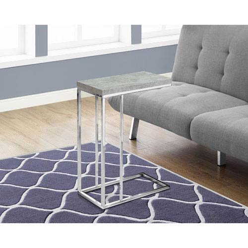 Hawthorne Ave Accent Table - Grey Cement with Chrome Metal