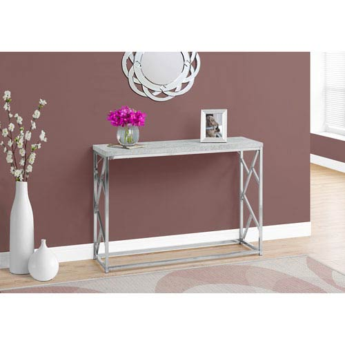 Console Table - Grey Cement with Chrome Metal
