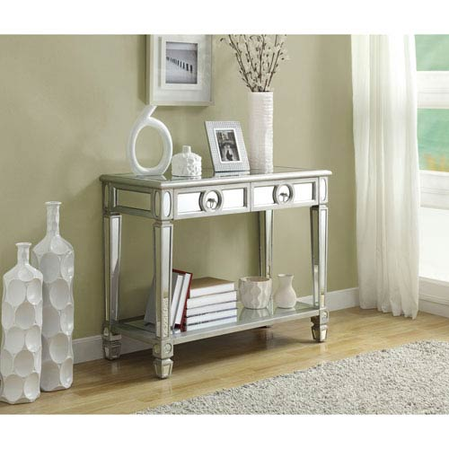 Hawthorne Ave Console Table   38L / Brushed Silver / Mirror