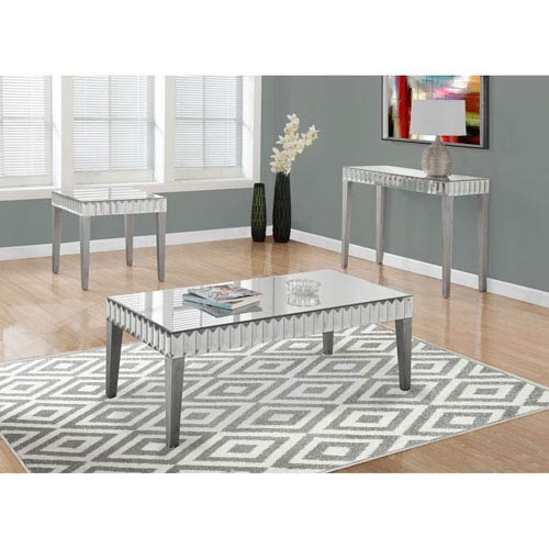 Brushed Silver 48-Inch X 24-Inch Coffee Table