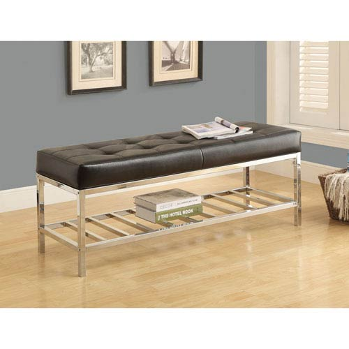 Hawthorne Ave Bench - 48L / Black Leather-Look / Chrome Metal