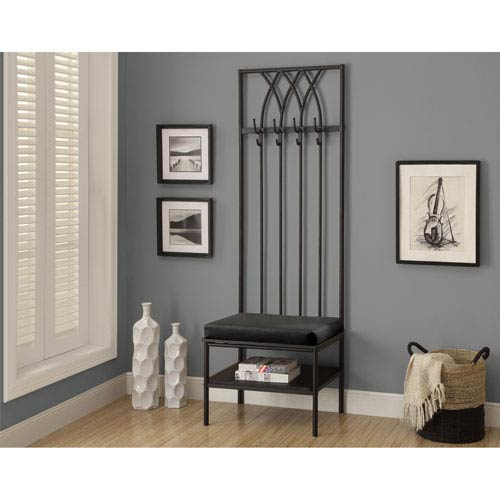 Bench Black Hammered Metal Hall Entry