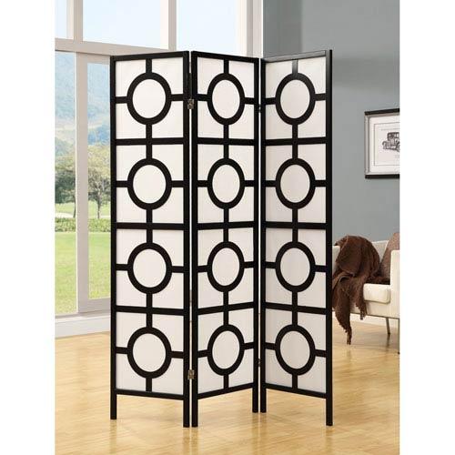 Folding Screen - 3 Panel / Black Frame Circle Design