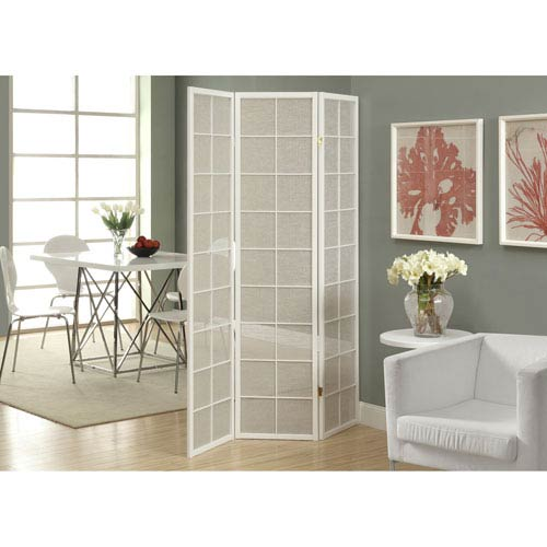 Hawthorne Ave Folding Screen - 3 Panel / White Frame with Fabric Inlay